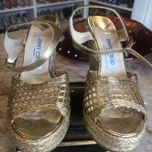 Jimmy Choo bright gold wedges size 37